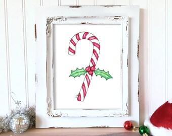 Holiday Art Print. Christmas Holly Art. Candy Cane Wall Art. Watercolor Christmas Art. Whimsical Holiday Decor. Whimsical Christmas Wall Art