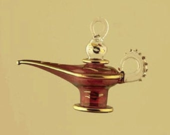 Glass Ornament - Aladdin Lamp Christmas Ornament -  Set of 5 Ornaments