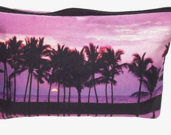 Palm Tree Sunset Small Makeup Bag