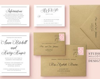 printable wedding invitation suite includes envelope addressing wedding templates invitations and envelopes - Printable Wedding Invitation
