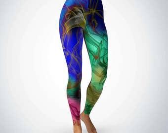 Colorful Leggings, Unique Leggings, Black Green Red Blue Yoga Leggings, Plus Size Tights, Workout Pants, High Waisted Womens Leggings
