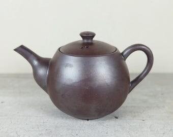 Vintage Japanese Teapot of Banko ware, Purple clay, Ushirode Kyusu Tea Ceremony Sencha Green Tea Gyokuro