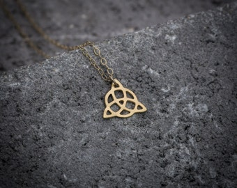 Tiny necklace, celtic trinty knot, dainty necklace, gift under 50, celtic knot charm, infinity necklace, celtic necklace, everyday necklace.