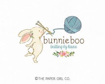 knitting logo design bunny logo design children's boutique logo baby logo design photography prop logo premade logo design bespoke logo