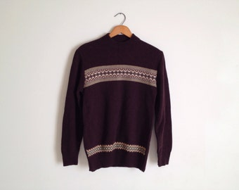 SALE Vintage Dark Brown Fair Isle Mock Turtleneck Knit Sweater