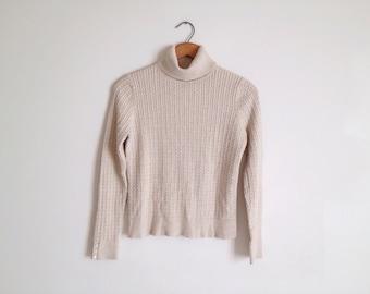 SALE Vintage 90s Beige Lightweight Cable Knit Crop Turtleneck Sweater