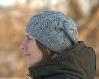 Gray womens hat Cable knit beanie Grey womens hat Slouchy knit hat