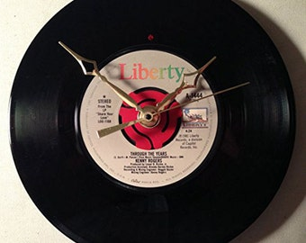 """Recycled KENNY ROGERS 7"""" Record • Through The Years • Record Clock"""