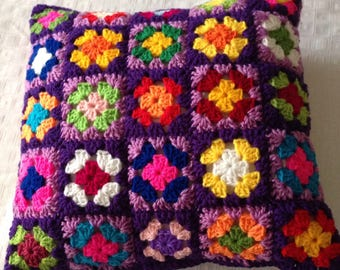Purple delight patchwork cushion cover