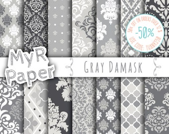 "damask digital paper: ""GRAY DAMASK"" digital paper pack with grey (gray) damask backgrounds and patterns for scrapbooking"