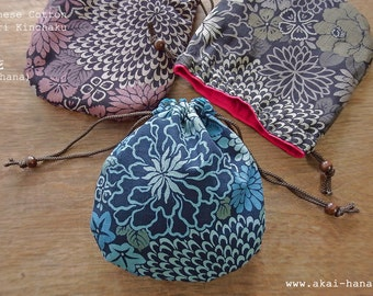 Temari Kinchaku Purse with Japanese Cotton, Shikibana Monyou, 100% Cotton