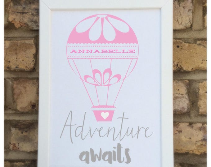Personalised Adventure awaits quote Framed Print   Great gift for children   Wall quote   Hot air balloon   Nursery decor.