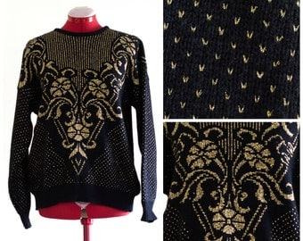 1980s black and gold sweater