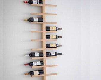 Raw Oak Woodstock Wine Rack. Wall mounted wine bottle holder. - WRWO03