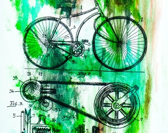 Postcard sized - Bicycle Patent Acrylic Painting print