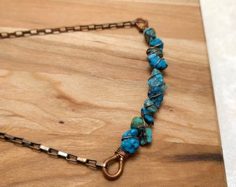 Turquoise and Copper wire wrap Bar Necklace choker