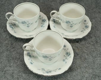 "Haviland Set Of 3 Teacup And Saucer In The ""Blue Garland"" Design Pattern"