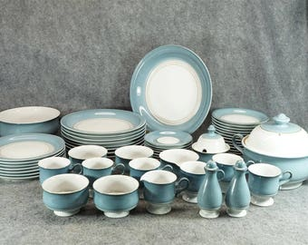 Denby England Castile Pattern China Set 55 Pieces C. 1980S