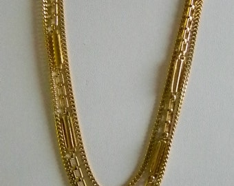 MONET Gold Tone Layered Multi Chain Necklace