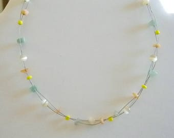 Floating Illusion Pastel Beaded Necklace