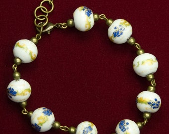 Blue And Gold Floral Porcelain Bead Bracelet