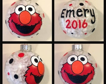 Elmo Hand Painted Ornament, Elmo Gifts, Sesame Street Gift, Kids Cartoon Ornaments, Glass Ball Christmas Ornaments, Christmas Decor for Kids