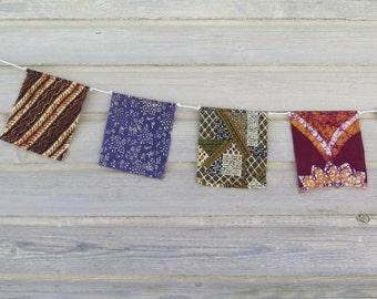 Prayer Flags, Garden Flags, Fabric Bunting, Festival Flags, Boho Room Decor, Hippie, Gypsy, Upcycled, Dorm Room Wall Decor, Tribal