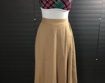 Late 70s Wool Skirt| Tan/Camel Color Skirt| Midi length| Pant-Her Brand| 100% Wool