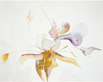 abstract watercolor 24x18in;45x60cm;painting on canvas-Bone Orchid-white painting;no need for frame;colorful;modern;original;flowers;gift