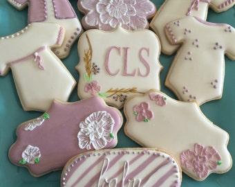 12 Custom Vintage Inspired Baby Shower Sugar Cookies