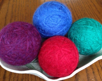 Felted Wool Dryer Balls, Set of 4 - Red, Purple, Emerald Green & Royal Blue