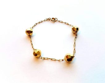 Vintage Dainty Little Gold Chain with Gold Disco Ball Beads Bracelet