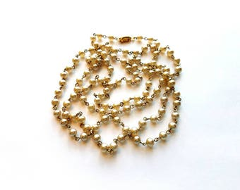 """Vintage CORO Gold Hand Wired Ivory Glass Pearls 48"""" Necklace"""
