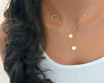 Initial Necklace, Layered initial, Multi Initial, Gold Infinity Necklace, Two (2) Initial Discs, Gift for Her, Mom Necklace [CUC9] [18-206]