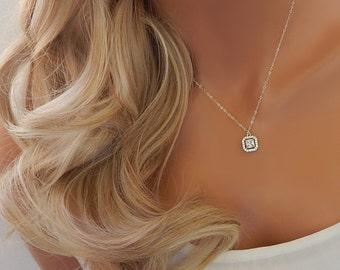 Wedding Necklace • Bridal Diamond Necklace • Silver or Gold Bridesmaid Necklace • Bridal Necklace • CZ Necklace [653]