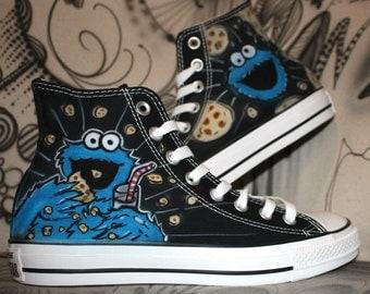Custom Airbrush Converse Chucks Cookie Monster Art Style Sneaker