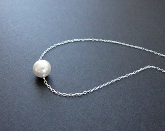 Single Pearl Floating Necklace Bridal Bridesmaid Necklace Pearl Jewelry 7.5mm Pearl - Silver Plated