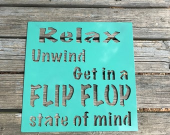 Pool sign, Beach sign, Metal relax sign, Relax unwind sign, Metal personalized sign, metal beach sign, Personalized beach sign