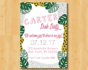 Modern Patterned Push Party, Baby Shower or Birthday Invitation - DIGITAL Printable Download