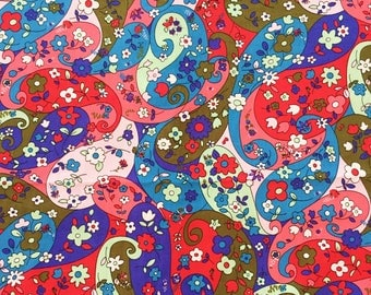 BLUE PAISLEY FABRIC By The Yard, Flower in drop blue tone, abstract, cute, sweet 100% Cotton Fabric by yard, fat quarter, half yard, yard