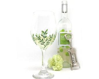 Painted Wine Glass, Greenery Decor, Wine Glass, Leaves