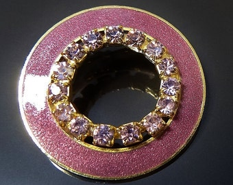 Vintage Brooch Pin Small Round Smoky Pink/Lavender Enamel Outer Rim and Circle of Lavender Rhinestones Void in Centre Gold Tone