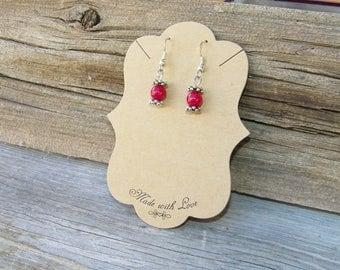 Red Beaded Earrings, Red & Silver Earrings, Woman's Handmade Earrings