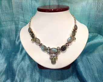 Sterling silver 925 Necklace  Labradorite stone with amethyst, perdot & Blue topaz stone Necklace come whit multistone  Bib Necklace