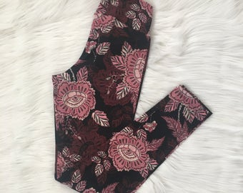 READY TO SHIP - Maroon Floral Leggings - Size M