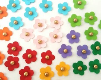Rainbow colored paper flowers - Gold centre
