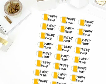 Happy Hour Stickers! Perfect for your Erin Condren Life Planner, calendar, Paper Plum, Filofax!