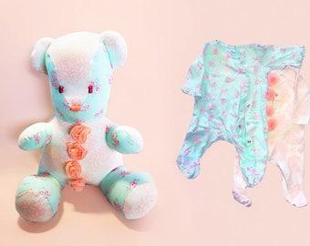 Patchwork Bear, pajama bear, pj bear, plush memories, bear pajama onesie, pajama teddy bear, babygrow bears, jammy bear, pyjama bear
