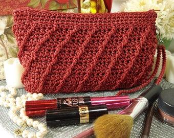 Makeup Bag w/ Wrist Strap, Crocheted   Whimsical   Red   Zippered Money Bag   Pencil Case   Purse Organizer   Women   Teens   Girls   Gifts