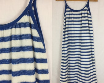 Early 80's Super Comfy Blue and White Striped Terry Cloth Dress / Vintage 1980's Swimsuit Cover Bath Dress Sleeveless